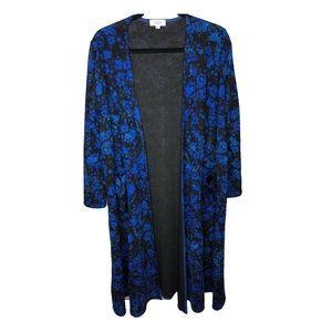 Lularoe Sarah elegant black blue floral duster
